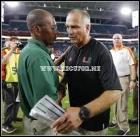 Florida A&M head coach Alex Wood greets Miami Hurricanes head coach
