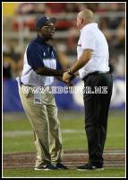 Jackson State head coach shakes hands w/UNLV head coach after game